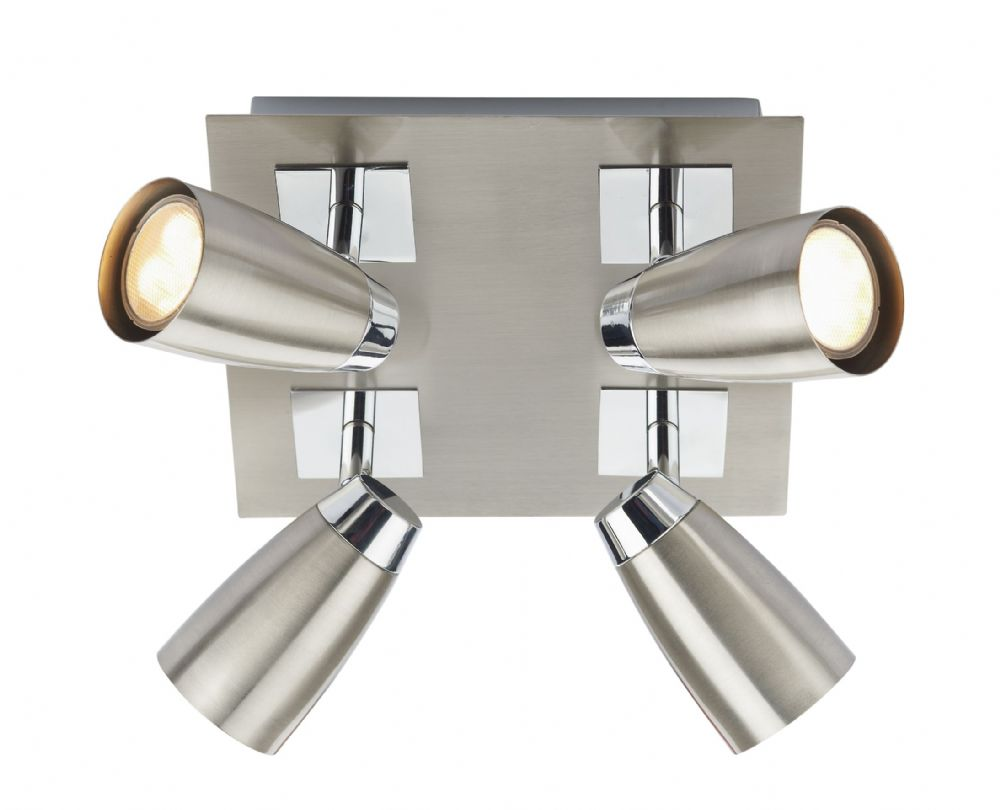 Dar Loft 4 Light Low Energy Square Plate Satin Chrome/ Polished Chrome LOF8546